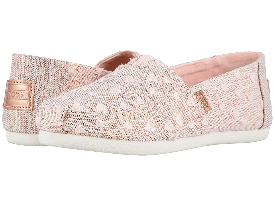 TOMS Kids Alpargata (Little Kid/Big Kid) (Rose Cloud Heartsy Twill Glimmer Embroidery) Girl