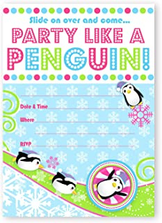 POP parties Penguin Party Large Invitations - 10 Invitations 10 Envelopes - Pink