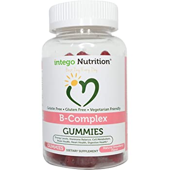 Vitamin B-Complex Chewable Gummies (60 Count) - Adult Multivitamin - Promotes Energy Levels, Heart Health   Intego Nutrition
