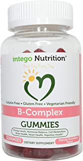 Vitamin B-Complex Chewable Gummies (60 Count) - Adult Multivitamin - Promotes Energy Levels, Heart Health | Intego Nutrition