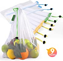 Reusable Produce Bags, Lavinrose Reusable Mesh Produce Bags with Drawstring & Tare Weight Tags, Durable...