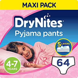 DRYNITES Pyjama Pants, Age 4-7 Y,  GIRL, 17-30 kg, 64 Bed Wetting Pants