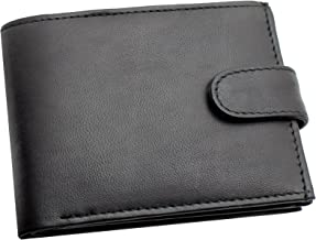 RAS Mens RFID Blocking Soft Smooth Genuine Leather Wallet With A Zipped Coin Pocket and Id Card Window 94 (Black)
