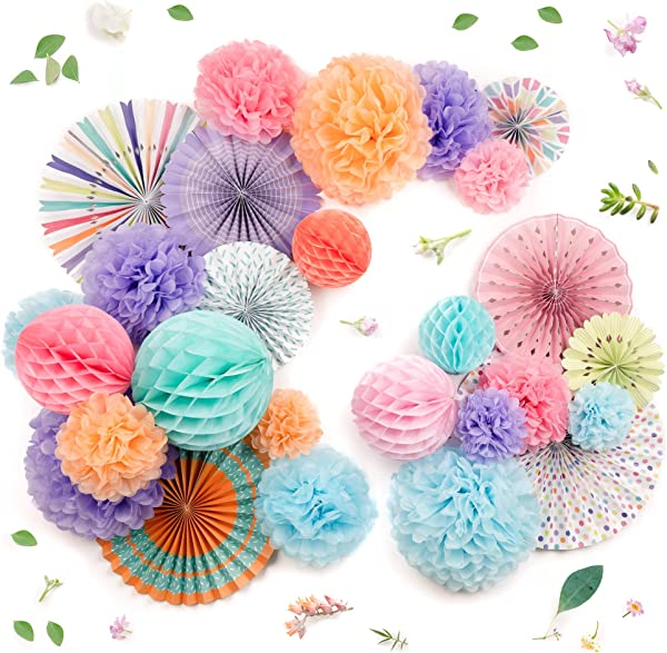 PapaKit Deluxe Origami Large Wall Decoration Set 26 Assorted Paper Fans Pom Poms Birthday Party Baby Shower Wedding Events Decor Creative Art Design Pattern Festive Colors Deluxe 26 Piece Set