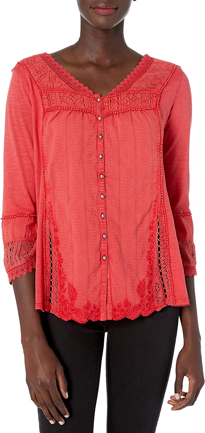 Vintage America Blues Women's Anouk Washed Knit Top with Crochet Details