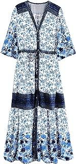 Women Summer Cotton V Neck Buttons Floral Print Drawstring Bohemian Maxi Dresses