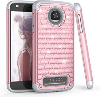 Moto Z2 Play Case, Motorola Z Play (2nd Gen) Cute Case For Girls, TILL(TM) Studded Rhinestone Crystal Bling Diamond Sparkly Luxury Shock Absorbing Hybrid Defender Rugged Glitter Case Cover [Rose Gold]