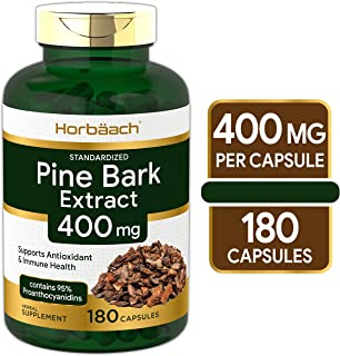 Horbaach Pine Bark Extract 400 mg | 180 Capsules | Max Potency | Standardized to Contain 95% Proanthocyanidins | Non-GMO, Gluten Free Supplement