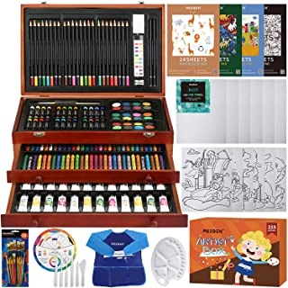 MEEDEN 215-Piece Mega Wooden Box Art Set, Deluxe Painting & Drawing Kit with All Paint Supplies for Kids, Beginners and Ad...