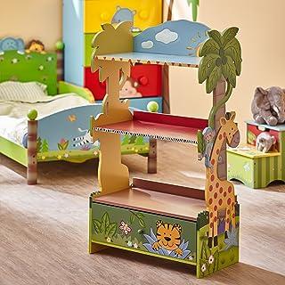 Fantasy Fields - Sunny Safari Wooden Kids Bookshelf with Hand Crafted Designs & Toy Storage - Green
