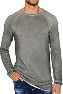 Mens Loose Knit Raglan-Sleeve Pullover Sweater