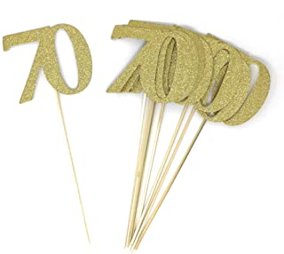 PaperGala Number 70 Set of 8 Double Sided Real Glitter Centerpiece Sticks DIY Reunions, Anniversaries, and Birthdays (Gold)