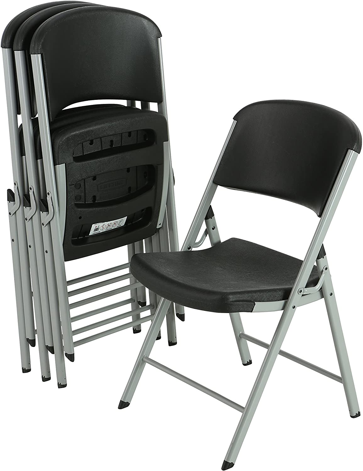 Complete Free Shipping Store LIFETIME Commercial Grade Folding Chairs 4 Pack Silver Black
