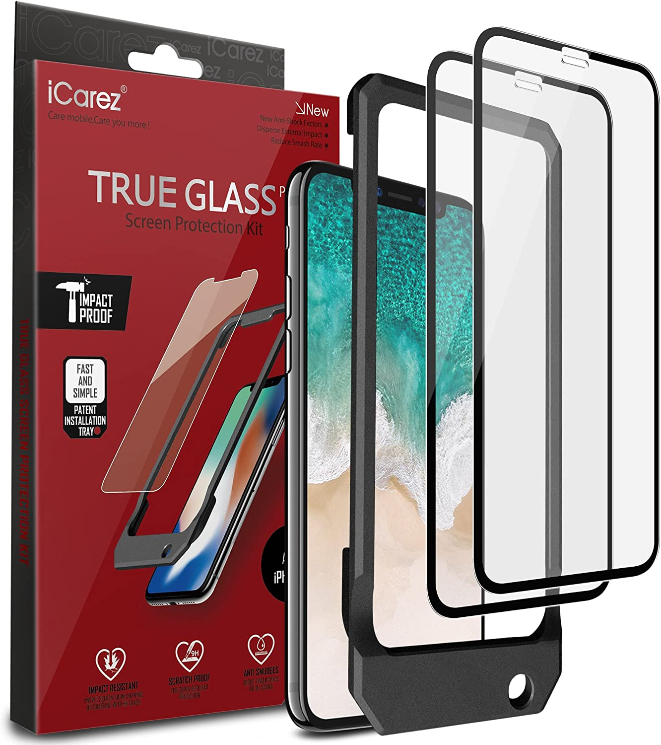iCarez Tempered Glass Screen Protector for iPhone X iPhone XS 5.8-Inches, 2-Pack Full Coverage