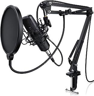 LIAM & DAAN - Micrófono condensador con Suspensión Brazo de tijera Soporte Ajustable - Tabla Abrazadera de montaje - Metal...
