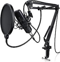 LIAM & DAAN - Micrófono condensador con Suspensión Brazo de tijera Soporte Ajustable - Tabla Abrazadera de montaje - Metal montaje de choque - Pop filtros