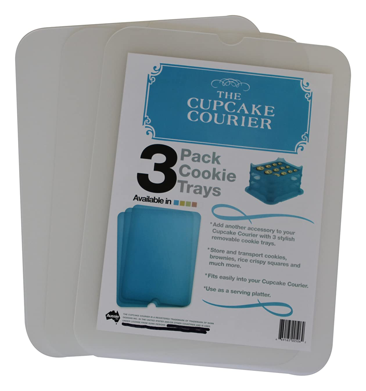 Cupcake Courier G0239 The Cookie Tray 3 Pack, White Translucent, Crystal Clear