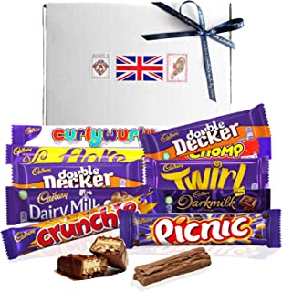 CADBURY Selection Box of 10 British Chocolate Bars. All carefully packed in a gift box with British flag.