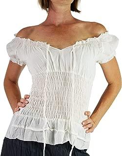 Short Sleeve Peasant Tops for Women - Renaissance Pirate Blouse Shirt