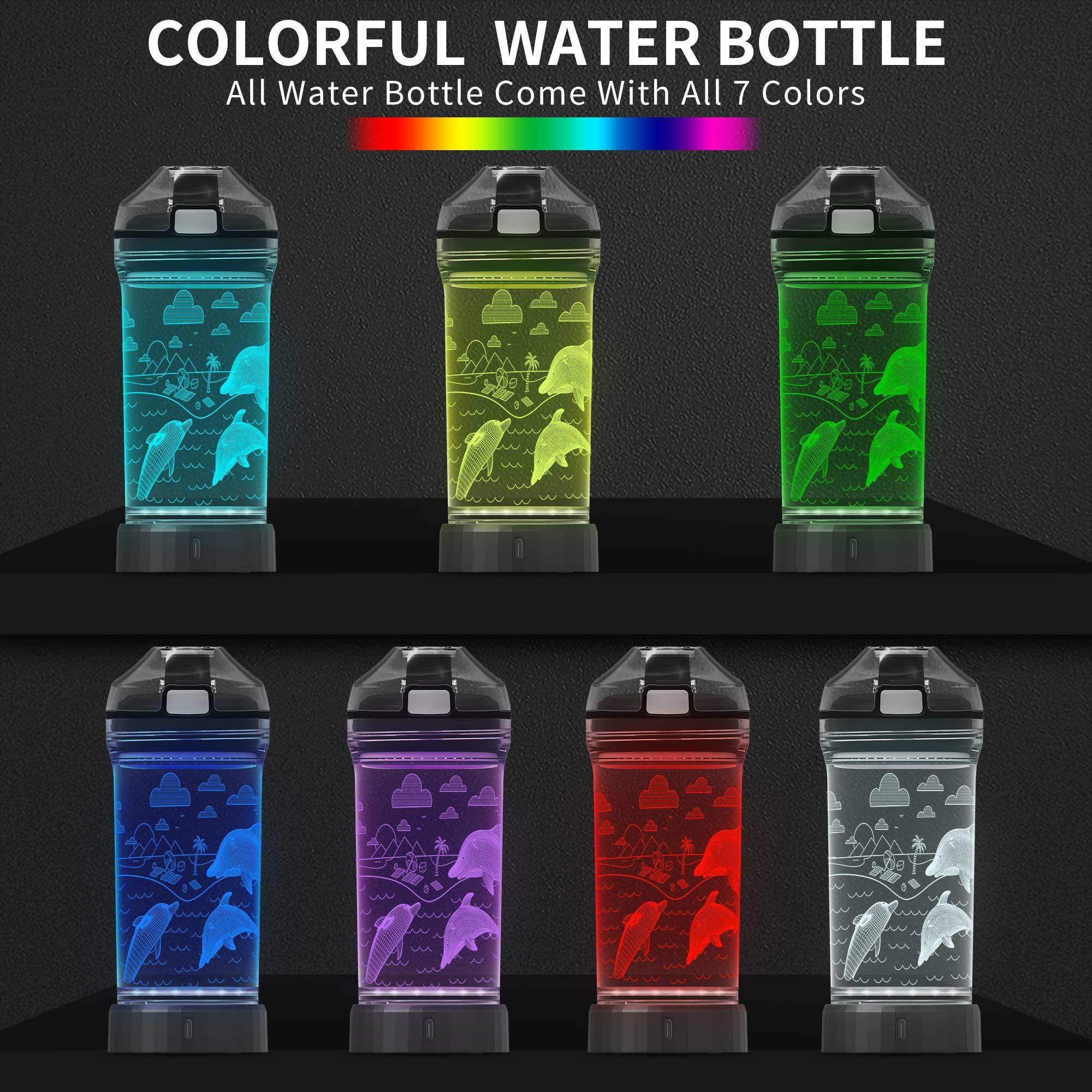 3D Dinosaur Illusion LED Light with 7 Color Changing Light 14 0z Lightzz Kids Watter Bottle Creative Idea Raptor Gift for Boy Child Holiday Xmas