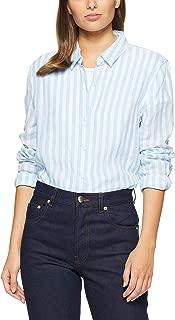 French Connection Women's Linen Button Through Shirt, Summer White/Seablue