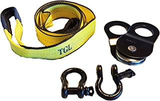 TGL 3 inch, 8 Foot Tree Saver, Tow Strap with 2-Pack D Ring Shackles and 10 Ton Snatch Block