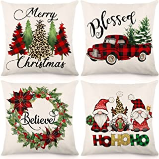 HOLICOLOR Christmas Pillow Covers 18x18 Inch Set of 4 Christmas Decorations Outdoor Farmhouse Throw Pillowcase Gnome Red B...