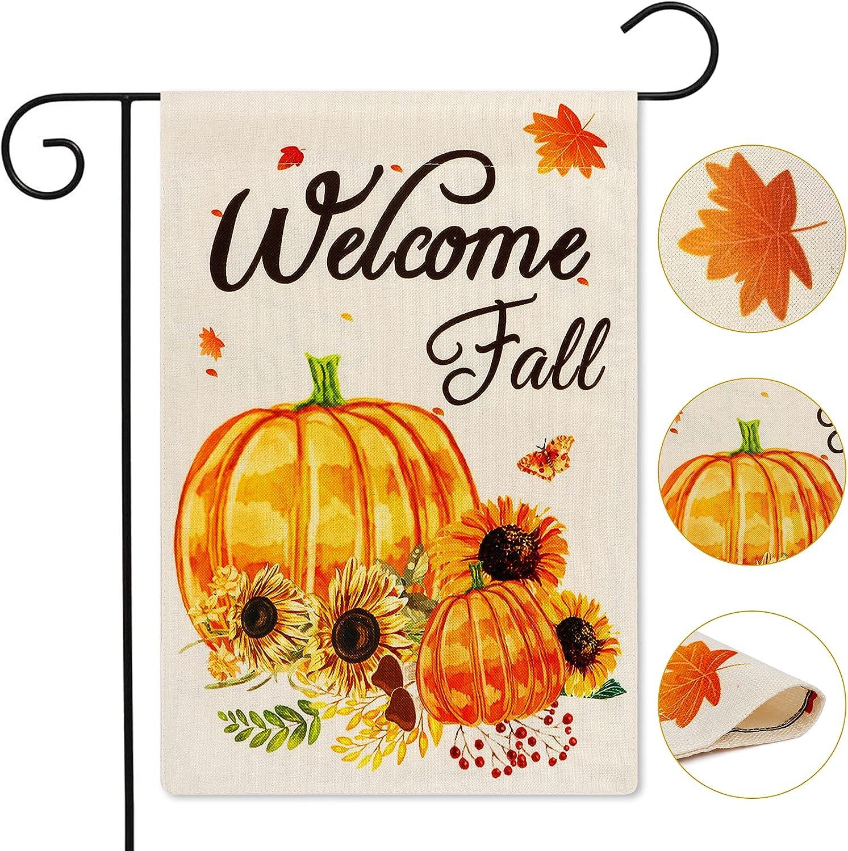 AerWo Welcome Fall Garden Flag, Double Sided Autumn Garden Flag Printed Pumpkin, Sunflowers, Fall Leaves for Farmhouse Garden Yard Outdoor Fall Decor Thanksgiving Decorations (12.5