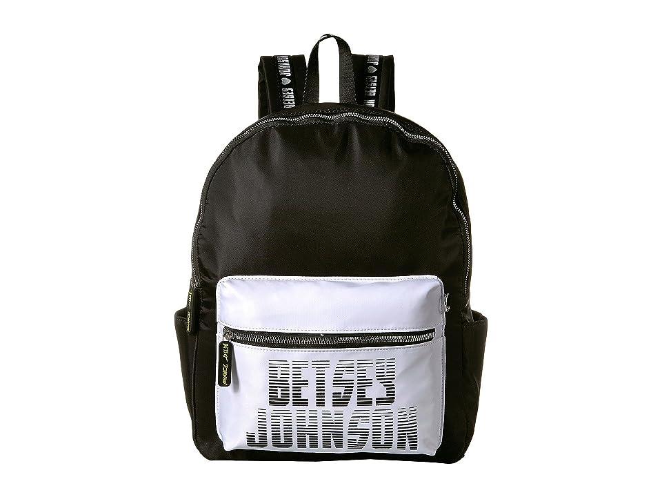 Betsey Johnson Sporty Logo Backpack (Black) Backpack Bags
