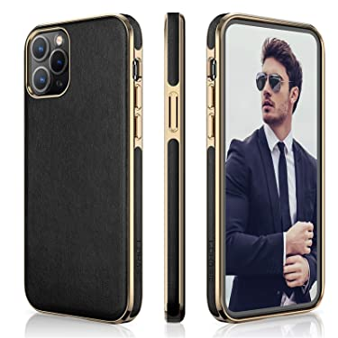 """LOHASIC Case for iPhone 12 Pro Max, Soft PU Leather Classic Elegant Business Slim Thin Cover Anti Scratch Non-slip Full Body Protective Phone Cases Compatible with iPhone 12 Pro Max(2020) 6.7"""" - Black"""