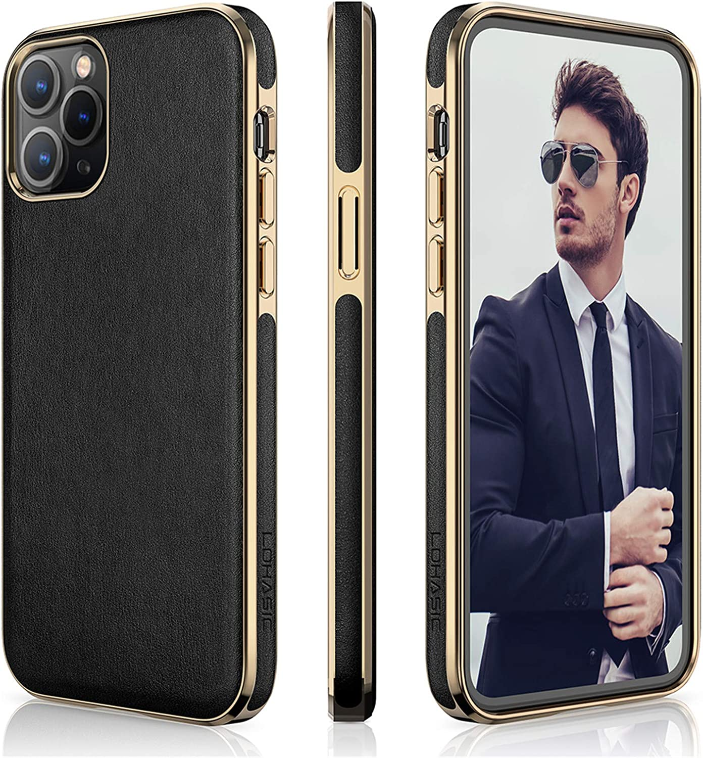 LOHASIC Case for iPhone 12 Pro Max, Soft PU Leather Classic Elegant Business Slim Thin Cover Anti Scratch Non-slip Full Body Protective Phone Cases Compatible with iPhone 12 Pro Max(2020) 6.7