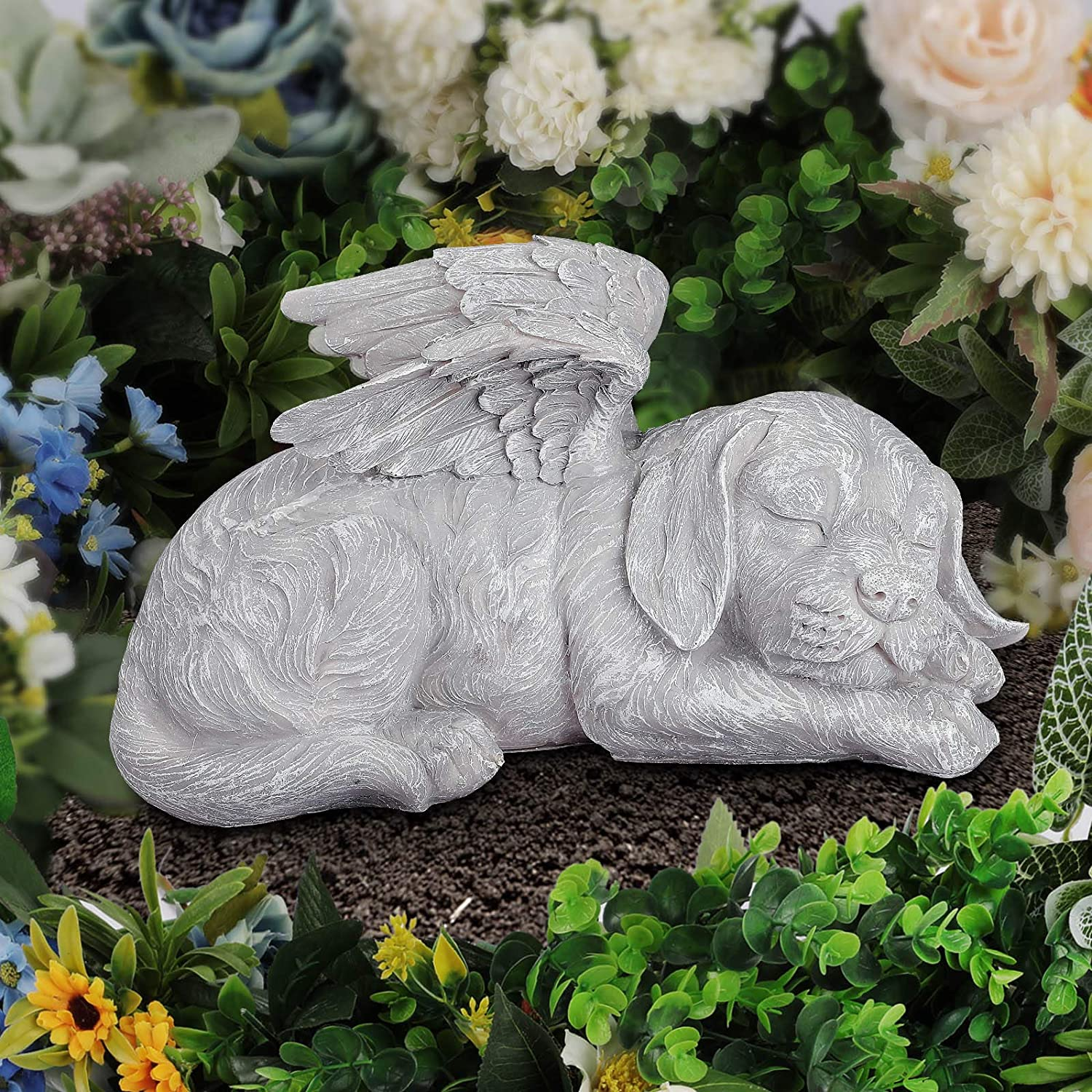 Giftchy Pet Memorial Stones for Dogs, Angel Dog Bereavement Gifts, Pets Grave Marker & Tribute Statue (9.875