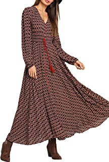 Women's Button Up Split Long Sleeve V Neck Multicolor Flowy Party Maxi Dress
