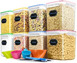 Cereal Container Food Storage Containers, Blingco Set of 8 (2.5L/85oz) Airtight Dry Food Storage Containers with Lids - BP...
