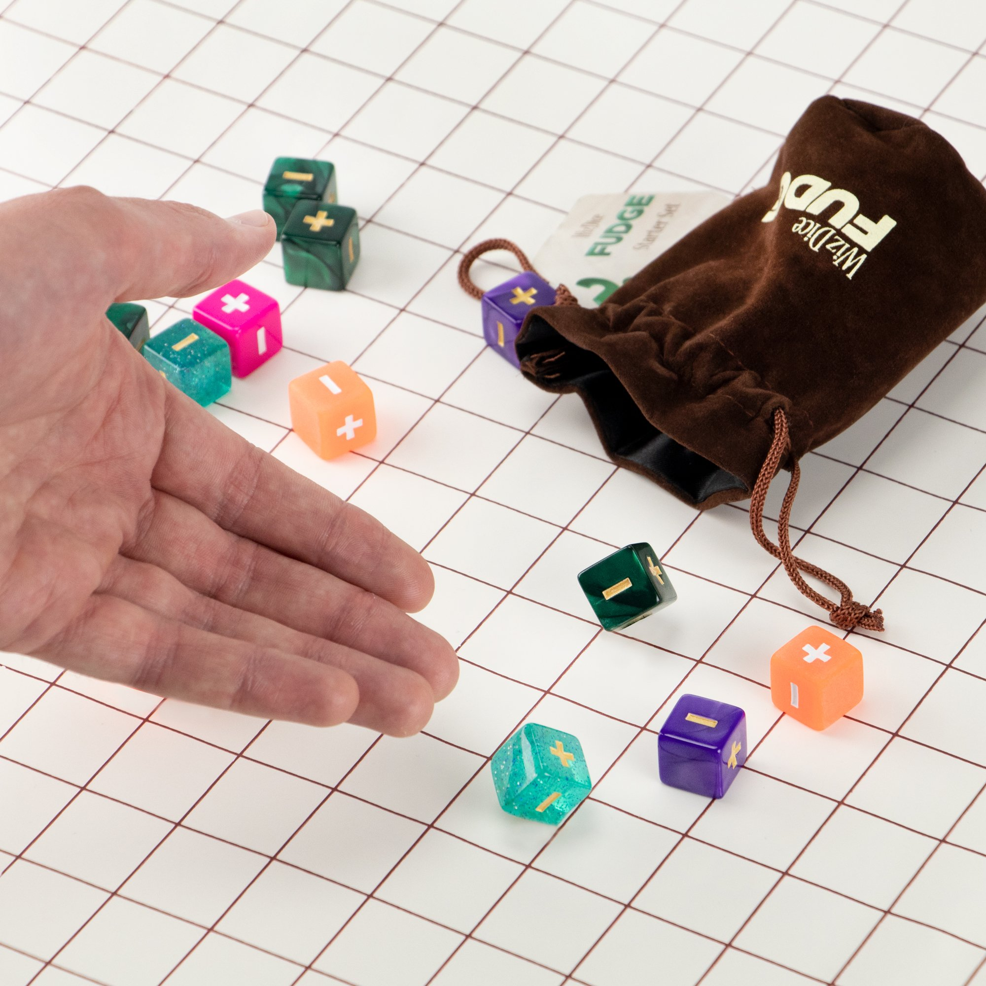 Tabletop Role-Playing Game Dice 5 Sets of 4 Fudge Dice 20 Fudge Dice GM Starter Pack: Mystical Compatible with Fate or FAE Rulesets Chocolate Brown Carry Bag