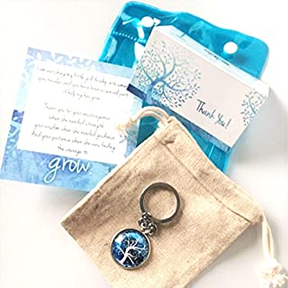 Smiling Wisdom - Teacher Appreciation Gift Set - Includes 2 Cards- From Daughter or Son For Giving Him/Her the Courage to Grow - For Man or Woman Teacher - Blue Tree Key Chain in Cotton Bag