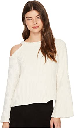 1.STATE - Bell Sleeve Sweater with Shoulder Cut Out