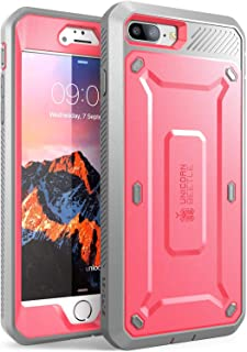 SUPCASE Unicorn Beetle Pro Series Case Designed for iPhone 8 Plus, with Built-In Screen Protector Full-body Rugged Holster Case for Apple iPhone 7 Plus 2016 / iPhone 8 Plus 2017 Release (Pink/Gray)