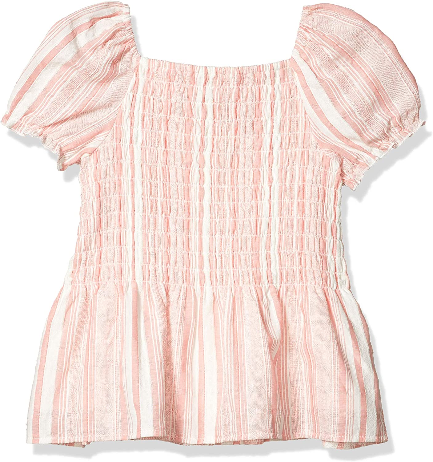 Speechless Girls Short Sleeve Peplum Smocked Top