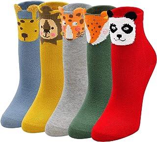 ZAKASA Calcetines De Algodón Para Niños y Niñas, Calcetines Cómodo Suave de 2 a 11 Años/Talla 20-34/5 pares