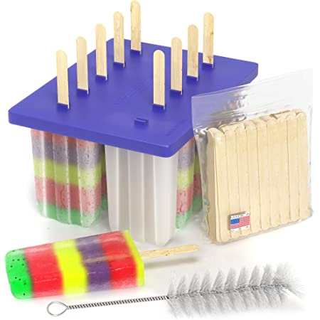 American Ice Pop Maker - Frozen Popsicle Mold Kit Moldes Para Paletas - 10 Large BPA Free Removable Plastic Molds + 50 Wood Sticks, Cleaning Brush, Healthy Kids Fruit & Cream Treats(Classic-10, Blue)