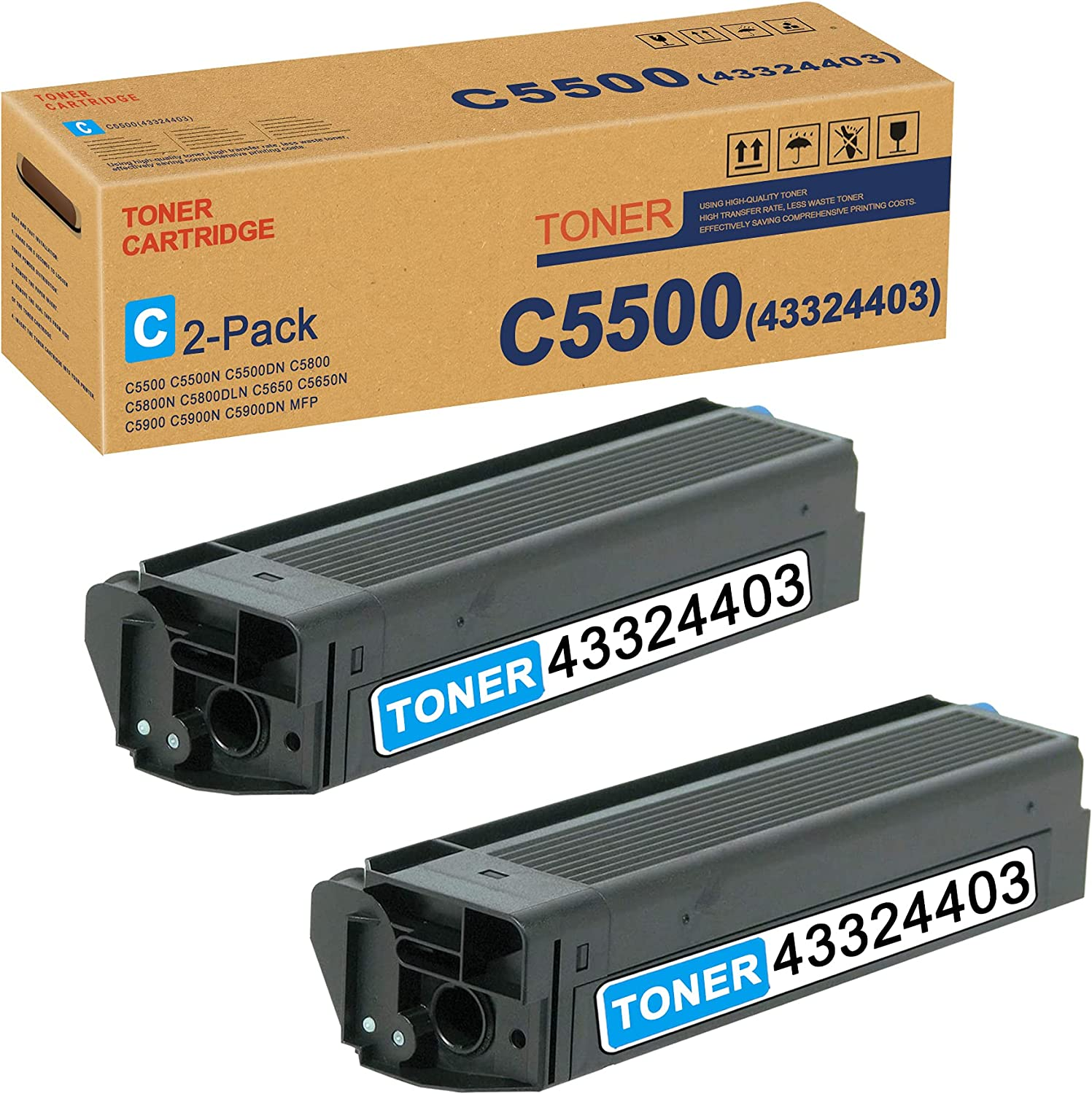 C5500 Year-end Special price gift 43324403 Toner Cartridge Cyan 2 OKI Replacement for Pack