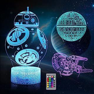 3D Illusion Night Light for Kids, LED Desk Lamp 3 Pattern & 16 Color Change Decor Nightlight, Death Star/Starships/BB-8 To...