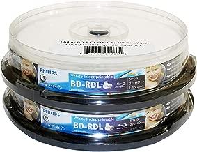 Philips BD-R DL 50GB 6X White Inkjet Printable 20pk Spindle Cake Box