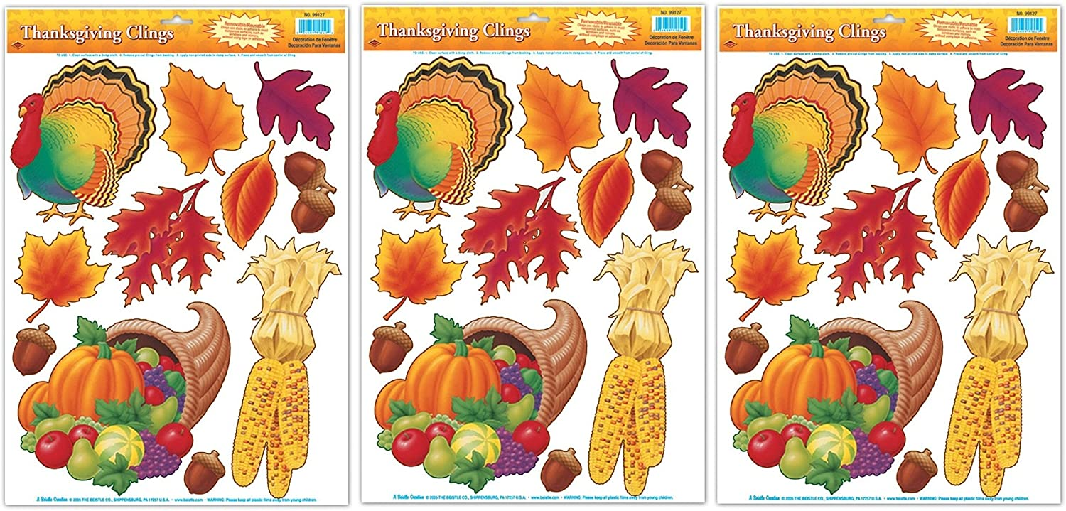 Thanksgiving Glass Clings Decorations Pkg 3