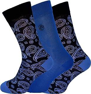 Socks Uwear Mens Bamboo Range Business Design Multipack Socks - Paisley Blue - 7-11