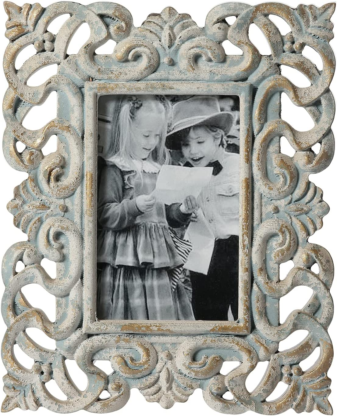 Vintage Picture Frames 4 x 6, Handmade Distressed Baroque Antique Photo Frame with Glass for Tabletop Display, Home Bedroom Dresser Living Room Party Decorative