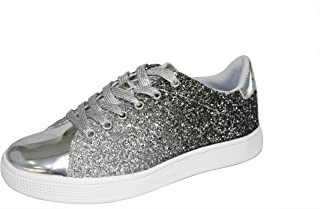 LUCKY-STEP Women Flats Glitter Sneakers | Lace Up Closed Sparkle Round Toe Flatform Fashion Sneakers