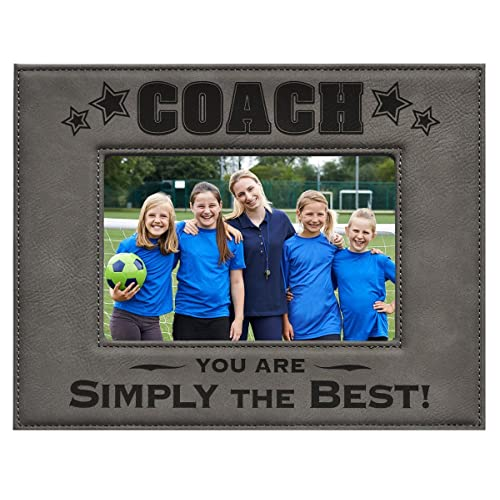 COACH PICTURE FRAME ~ Gray 4 x 6 Engraved Leatherette Picture Frame ~ COACH – You