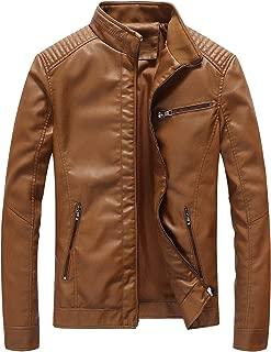 Leather Jacket Men Black Slim Fit Motorcyle Lightweight